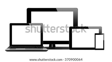 Tablet pc, mobile phone and computer isolated on white background - stock photo