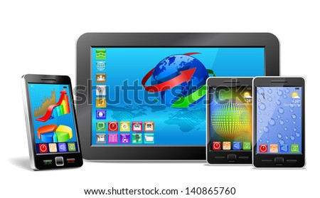 tablet pc, mobile phone and navigator are shown in the image.