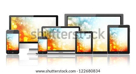 Tablet pc, mobile phone, notebook and computer - stock photo