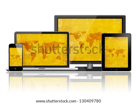 Tablet pc, mobile phone, notebook and hd tv - stock photo