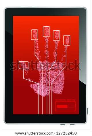 Tablet PC on screen hand print isolated on white - stock photo