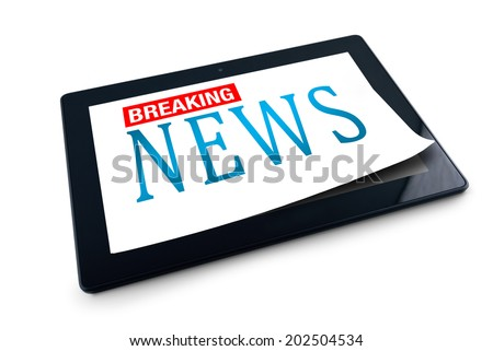 Tablet PC on white background with Breaking News title. 10 inch display tablet computer as modern technology high tech gadget in media era. - stock photo