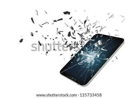 Tablet PC Screen damage Simulation 3D - stock photo