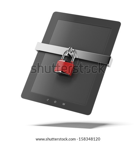 Tablet pc security - stock photo
