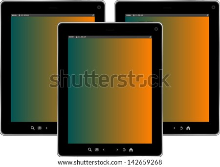 tablet pc set isolated on white background, raster - stock photo