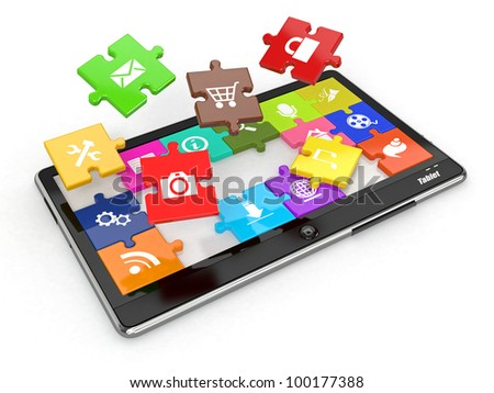 Tablet pc software. Screen from puzzle with icons. 3d - stock photo