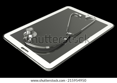 Tablet PC. stethoscope. isolated on black background 3d illustration. high resolution - stock photo