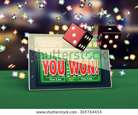tablet pc with a craps app and a couple of dice, game chips falling on background (3d render) - stock photo