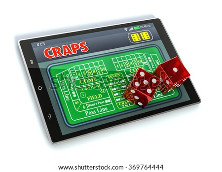 tablet pc with a craps app and a couple of dice on white background (3d render)
