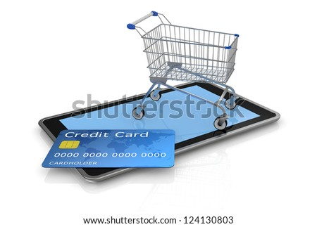 tablet pc with a credit card and a shopping cart (3d render)