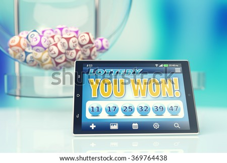 tablet pc with a lottery app in a winning situation and a lottery machine on background (3d render) - stock photo