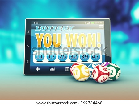 tablet pc with a lottery app in a winning situation and some lottery balls (3d render) - stock photo