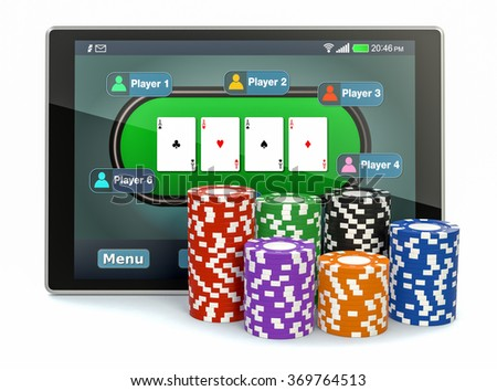 tablet pc with a poker app and stacks of poker chips on white background (3d render)