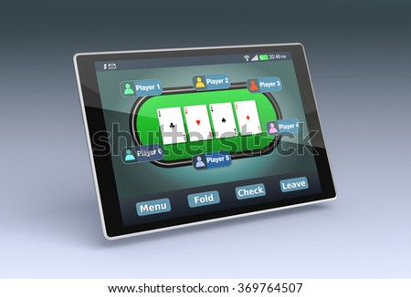 tablet pc with a poker app (3d render)