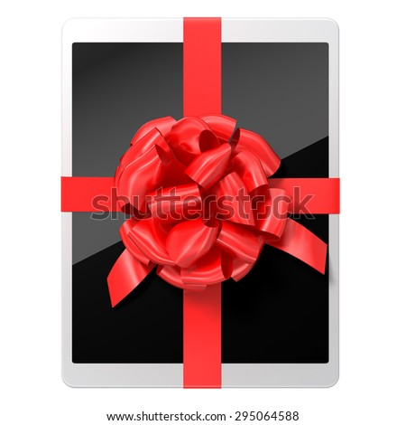 tablet pc with a red ribbon on white background with a workpath - stock photo