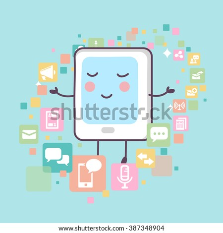 tablet pc with all kinds of icons,great for technology concept design - stock photo