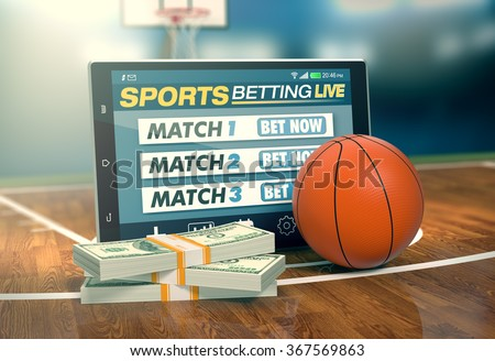 tablet pc with app for sport bets, stacks of banknotes and a basketball ball, concept of online bets (3d render)