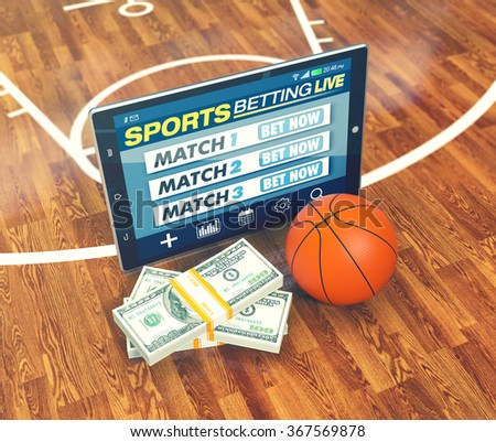 tablet pc with app for sport bets, stacks of banknotes and a basketball ball, concept of online bets (3d render) - stock photo