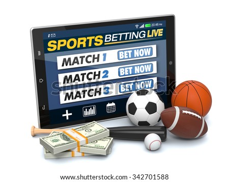 tablet pc with app for sport bets, stacks of banknotes and symbols of various sports, concept of online bets (3d render) - stock photo