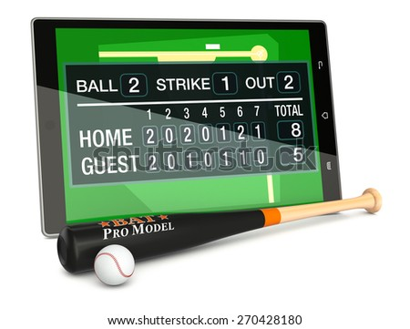 tablet pc with baseball field, a score board, a bat and a ball, concept of sport and new communication technology (3d render) - stock photo
