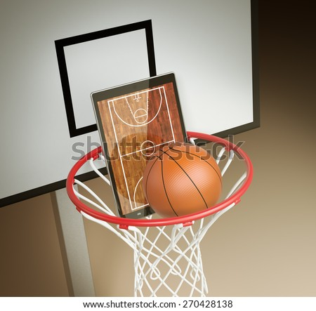 tablet pc with basketball field, a ball and a basketball hoop, concept of sport and new communication technology (3d render) - stock photo