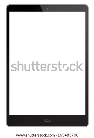 Tablet pc with blank screen isolated on white