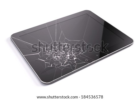 Tablet pc with broken screen - stock photo