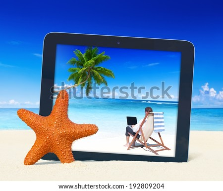 Tablet PC with businessman working on the beach. - stock photo
