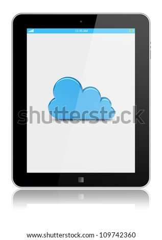 Tablet PC with cloud computing symbol on a screen. Isolated on a white. 3d image