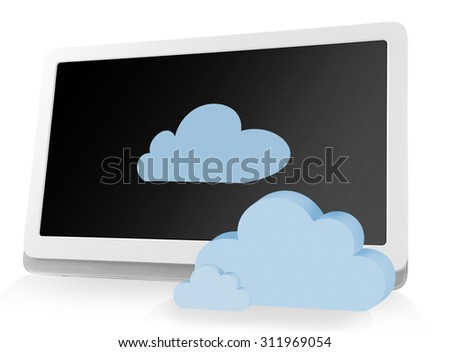 Tablet PC with clouds. Cloud computing concept - stock photo