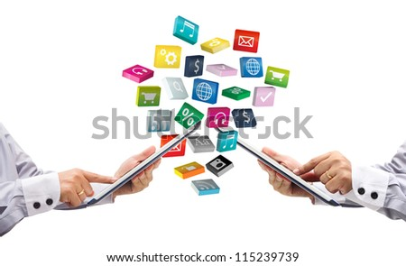 tablet pc with colorful application icons, isolated on white background