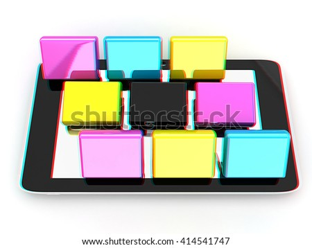 Tablet PC with colorful CMYK application icons isolated on white background . 3D illustration. Anaglyph. View with red/cyan glasses to see in 3D.