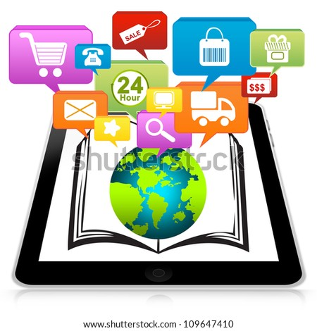 Tablet PC With Group of Colorful Online Shopping Icon Above for Online Shopping Concept  Isolate on White Background - stock photo