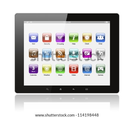 Tablet pc with icons on white background - stock photo