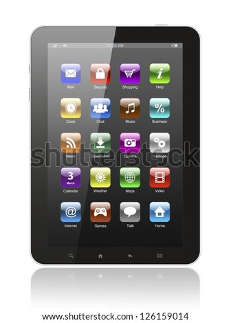 Tablet pc with icons on white background