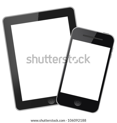 Tablet pc with mobile phone isolated on white background - stock photo