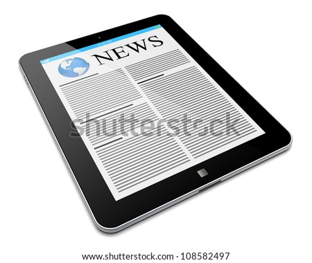 Tablet PC with news on a screen. Isolated on a white. 3d image