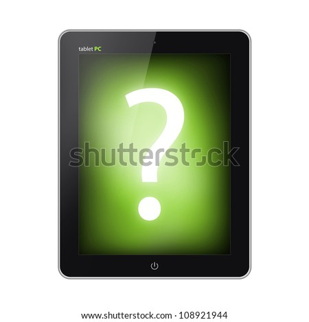 Tablet pc with question mark on a screen isolated on white background - stock photo