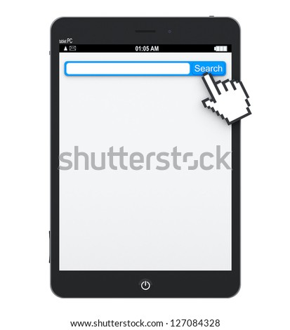 Tablet Pc with search engine with blank space in browser for your text and pixel hand on a white background - stock photo
