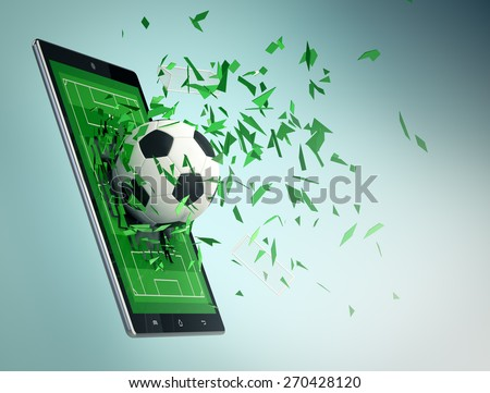tablet pc with soccer field and a ball coming out by breaking the glass, concept of sport and new communication technology (3d render) - stock photo