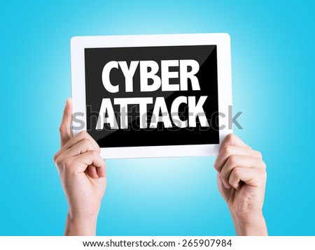 Tablet pc with text Cyber Attack with blue background - stock photo