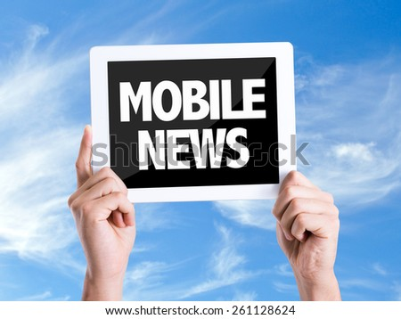 Tablet pc with text Mobile News with sky background - stock photo