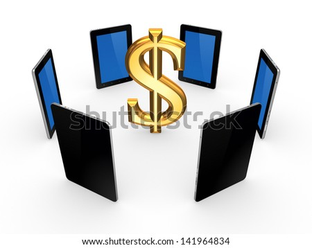 Tablet PCs around sign of dollar.Isolated on white.3d rendered. - stock photo