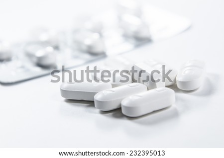Tablet pharmacy with packing isolated on white background