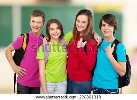 Tablet, school, kid. - stock photo