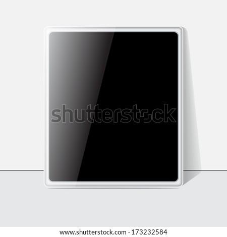 Tablet screen, white case.  - stock photo
