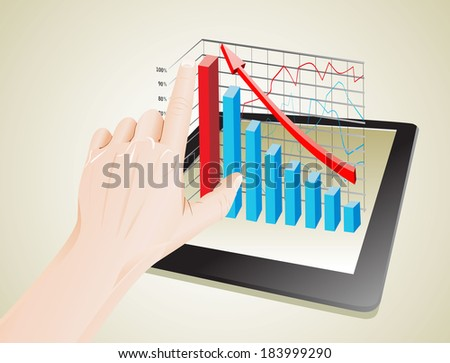 Tablet screen with 3D graph and a hands. - stock photo