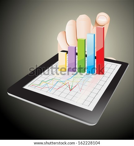Tablet screen with graph and a hand. - stock photo