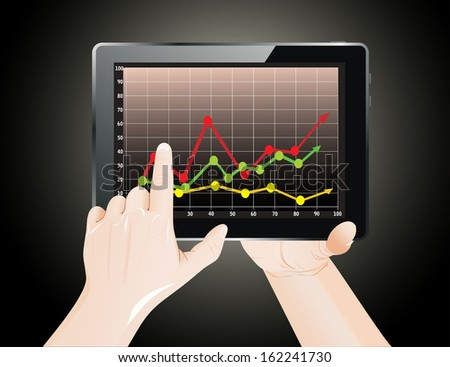 Tablet screen with graph and a hands. - stock photo