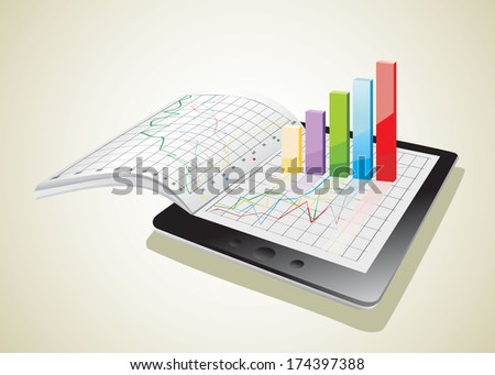 Tablet showing a spreadsheet and a paper with statistic 3d charts - stock photo